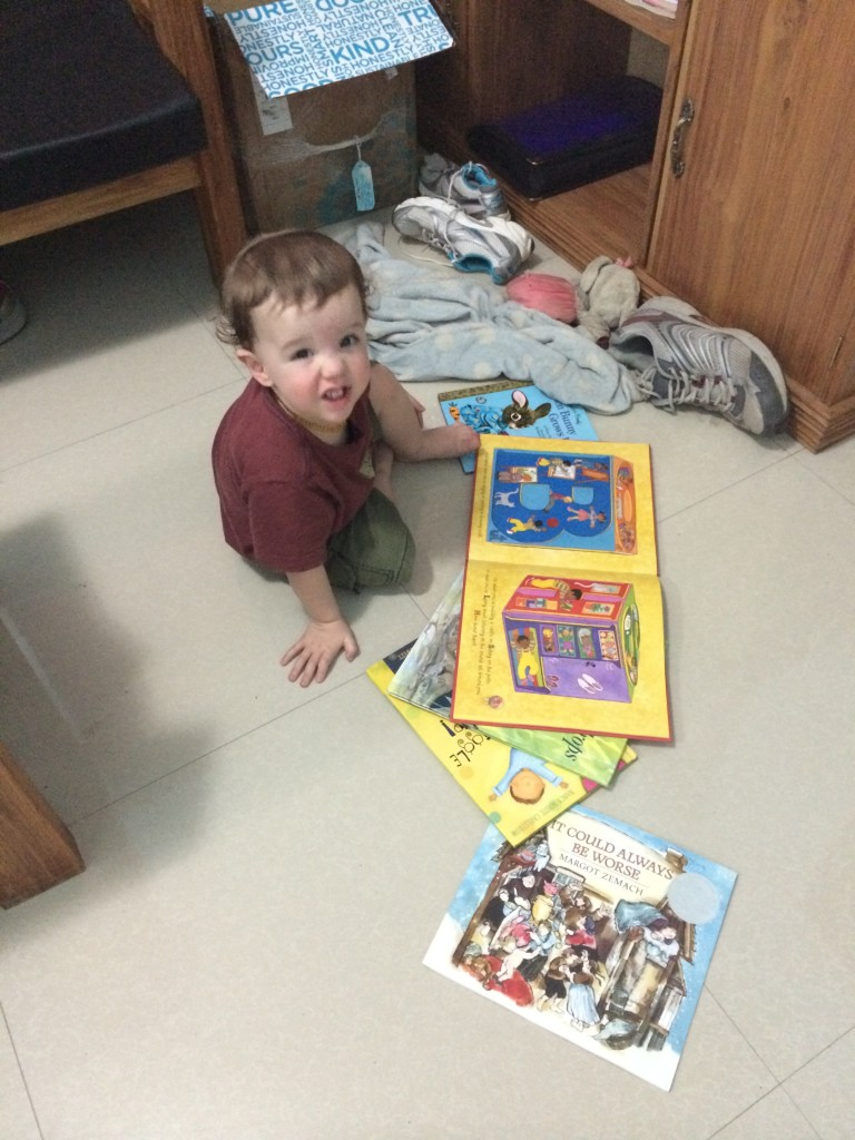 Thank you to our friend who encouraged us to take some books along.  Zander is so happy we did.