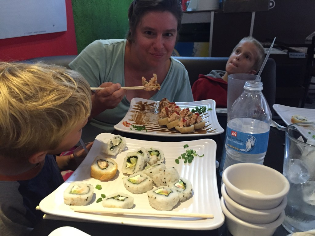 Becky and the kids at a Sushi restaurant within walking distance of our campground. We've seen over 4 Sushi restaurants in La Paz!