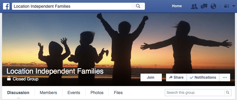 Facebook Group Digital Nomad Families