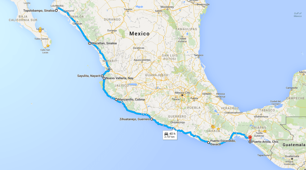 Mexico Pacific Coast Drive Plan