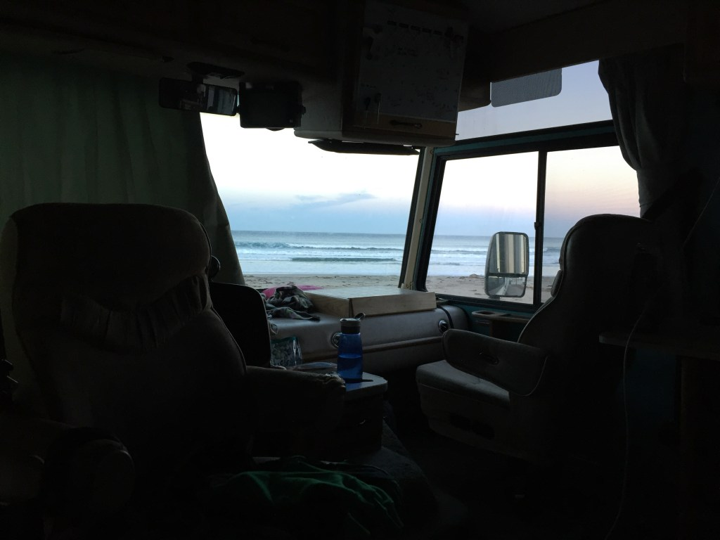 Motorhome on the ocean