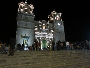 Cathedral in Puno at night.