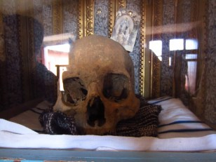 And a skull in a box in the bedroom.