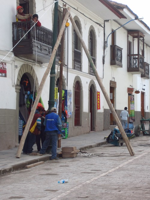 This is how we put up a light pole in Peru...