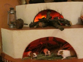 Creepy representation of guinea pigs being raised and cooks.