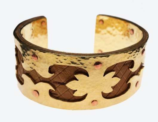 Decontie and Brown Brass and Birch Bracelet