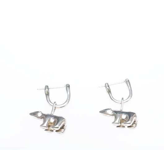 Sterling silver bear earrings