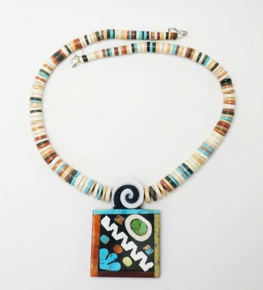 Mary Tafoya multi-material necklace graduated beads
