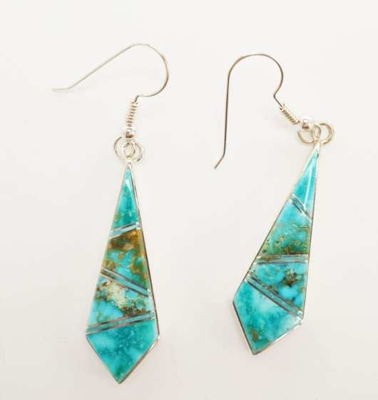 Earl Plummer inlaid Kingman turquoise earrings