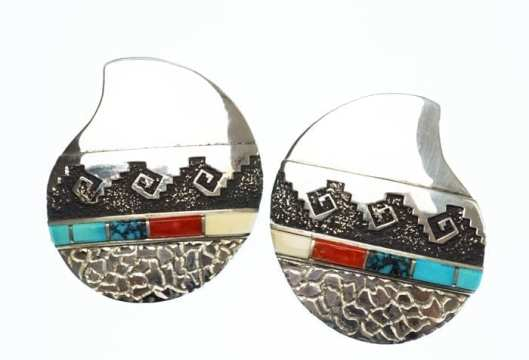 Alvin Lula Begay inlay-overlay earrings