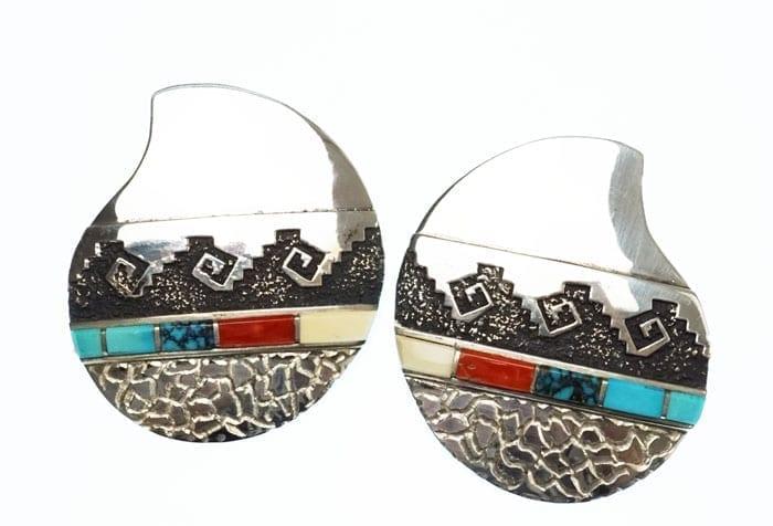 Alvin Lula Begay inlay-overlay earrings