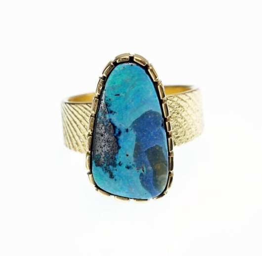 Althea Cajero Peruvian Opal 18K cuttlefish bone cast ring
