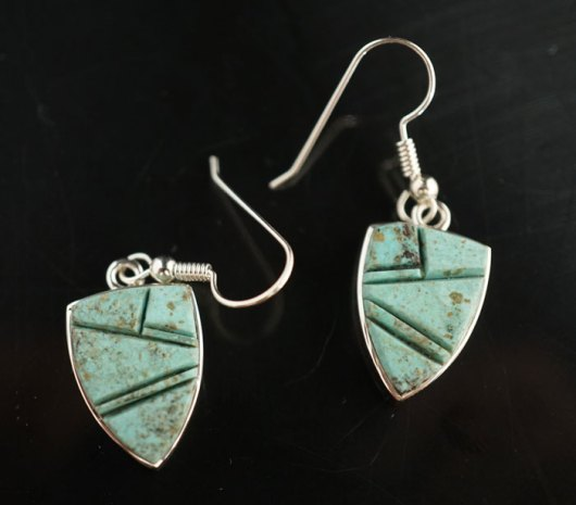 Earl Plummer Sterling Silver Turquoise Inlay Earrings