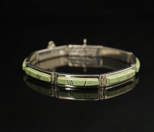 Earl Plummer Sterling silver gaspeite link bracelet