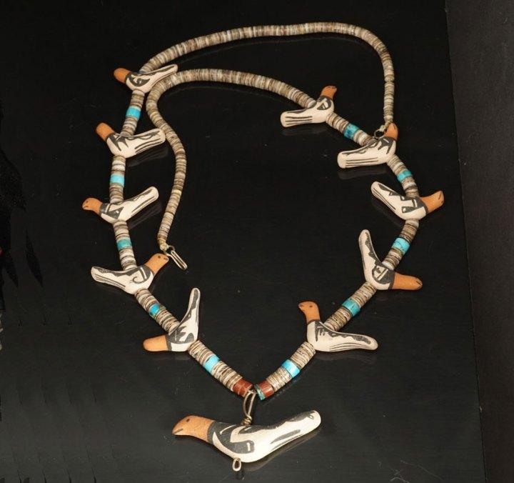 Pueblo Pottery Bird Necklace