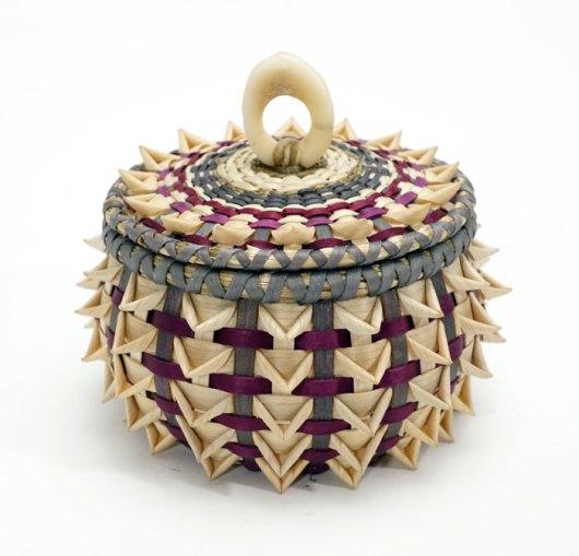 Sarah Sockbeson Maroon Gray Small Urchin Basket