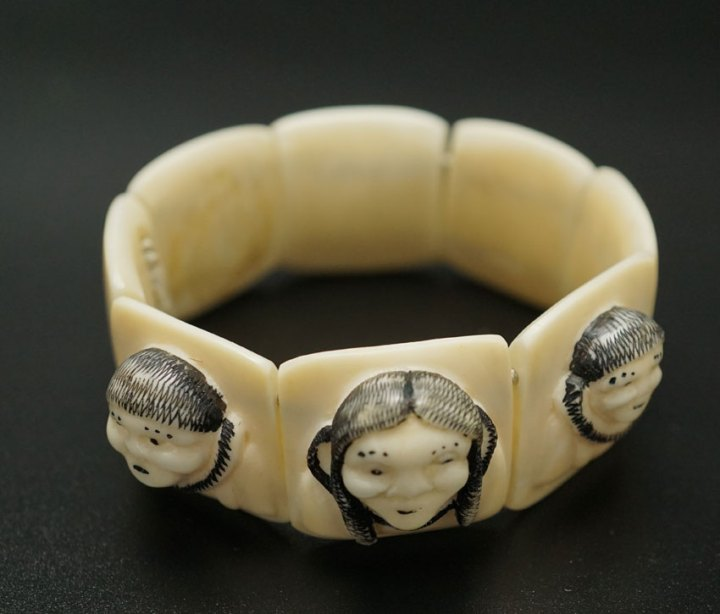 Vintage Ivory Bracelet with Carved Family Faces