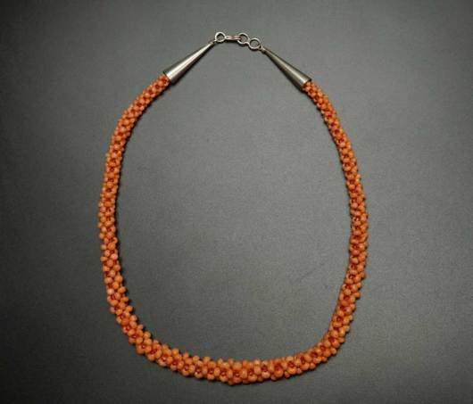 Vintage Woven Coral Necklace