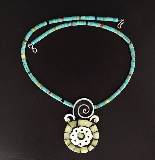 Mary Tafoya Yellow Serpentine Mosaic Necklace