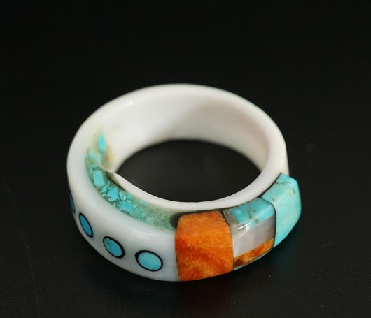 Lorenzo Tafoya Native American Jewelry Mosaic Shell Ring