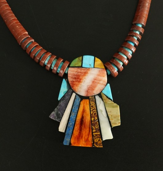 Mary Tafoya Native American Jewelry Santo Domingo Mosaic Angel Necklace