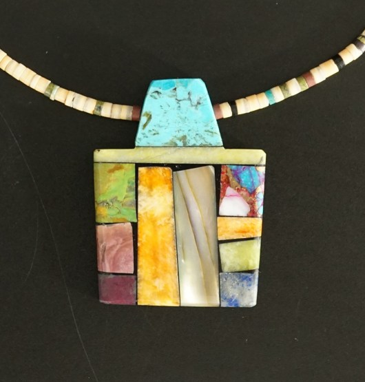 Mary Tafoya Native American Jewelry Santo Domingo Mosaic Necklace