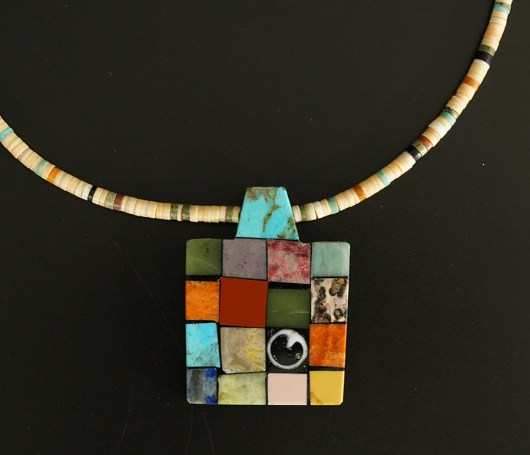 Mary Tafoya Native American Jewelry Santo Domingo Mosaic Singular Necklace