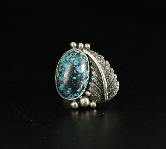 Native American Sterling Silver Cheryl Arviso Kingman Turquoise Ring
