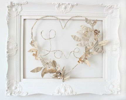 Book Page Framed Love Wreath