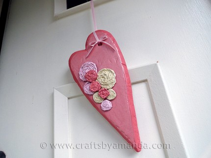 Valentine Rosette Heart for Your Door