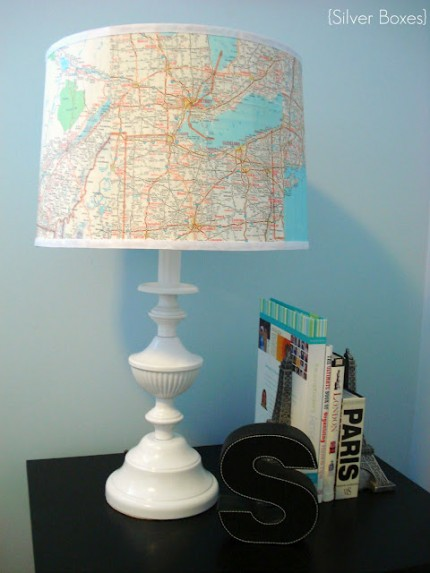 Map covered lampshade