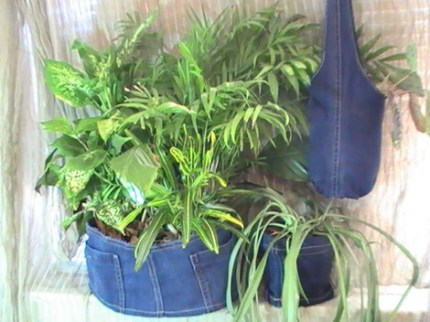 Recycled Denim Sling-Style Plant Hanger