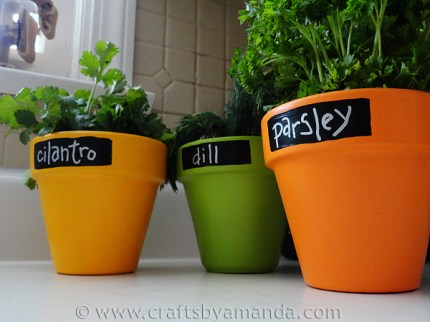 Faux Chalkboard Herb Pots