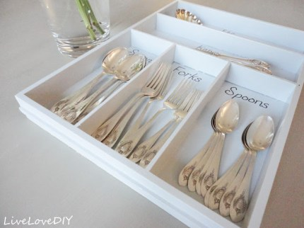 French Blue Painted Silverware Organizer