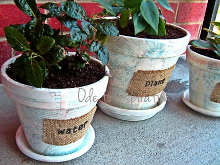 Book Page and Burlap Pots