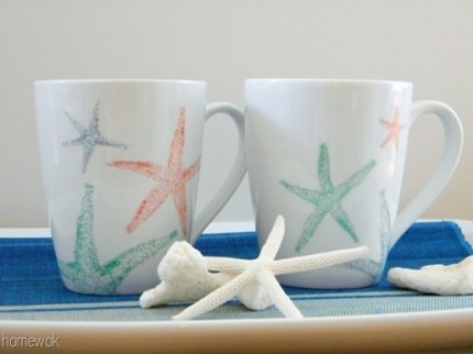 Beachy Starfish Coffee Mugs as seen on HomeandGarden.CraftGossip.com