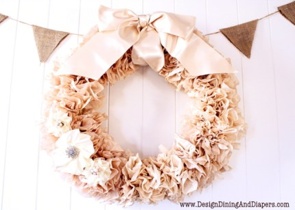 Pretty tea stained coffee filter wreath as seen on HomeandGarden.CraftGossip.com