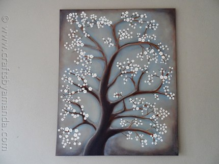 DIY Painting: White Cherry Blossom Tree from CraftsbyAmanda.com
