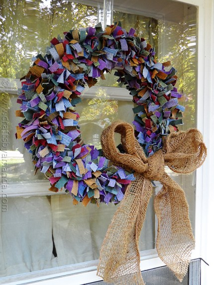Multi Colored Denim Scrap Wreath