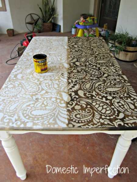 Awesome Paisley Stenciled Table