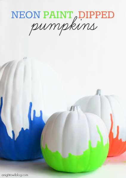 Neon-Paint-Dipped-Pumpkins