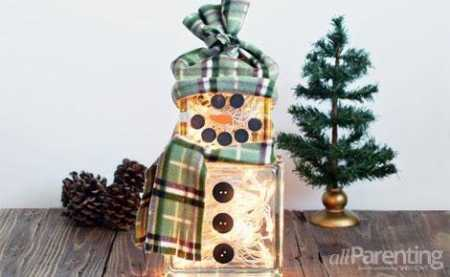 Lighted Block Snowman