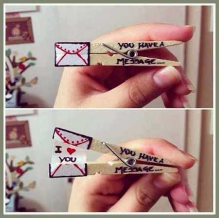 Cutest DIY Clothespin Love Message