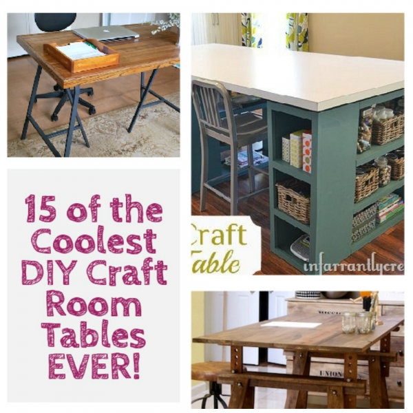 cool diy craft room tables home and garden. Black Bedroom Furniture Sets. Home Design Ideas