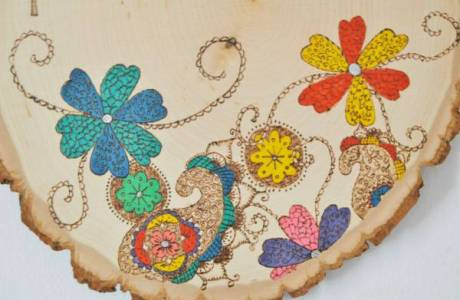 DIY Wood Burned Coloring In Door Sign