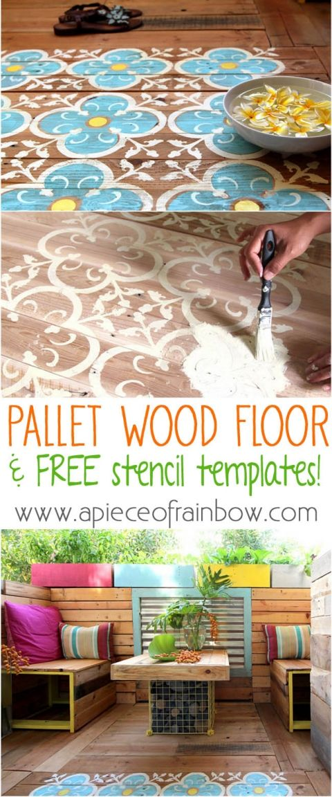 Painted Pallet Floor And Printable Stencil - Home and Garden