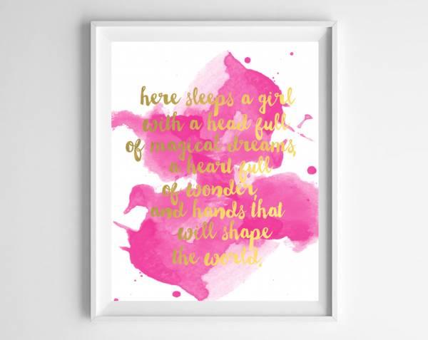 Inspirational Printable Wall Art u Here Sleeps A Girl