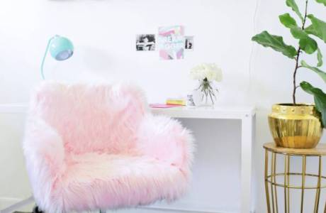 Make Your Own Fluffy Faux Fur Office Chair