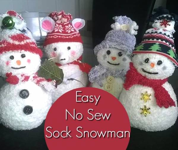 sock craft ideas no sew sock snowman home and garden 2966