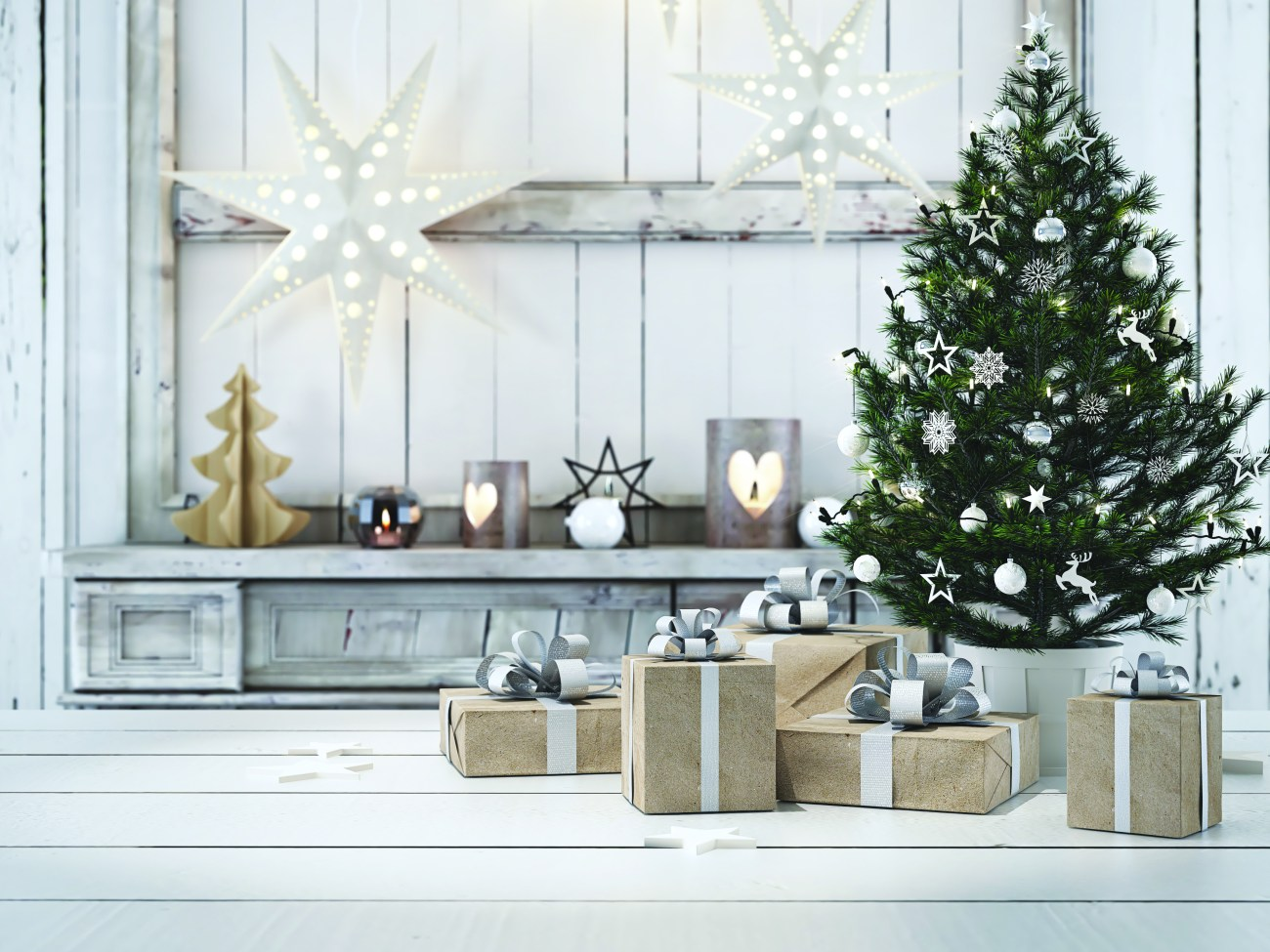 beautiful gift with Christmas ornaments. 3d rendering